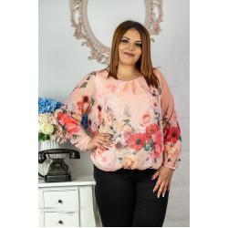 Прекрасна розова дамска блуза на цветя от шифон