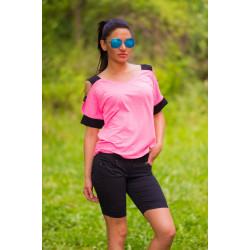 Розова ефектна дамска блуза с голо рамо