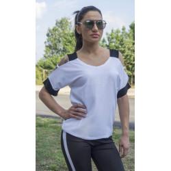 Бяла ефектна дамска блуза с голо рамо