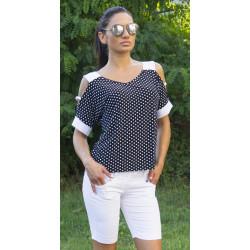 Черна ефектна дамска блуза с голо рамо на бели точки