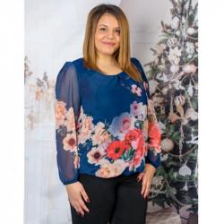 Прекрасна синя дамска блуза на цветя от шифон