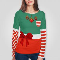 3D дамска блуза с дълъг ръкав 7546
