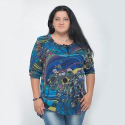 Макси дамска блуза от шифон Blue