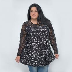 Свежа макси дамска блуза с дантела