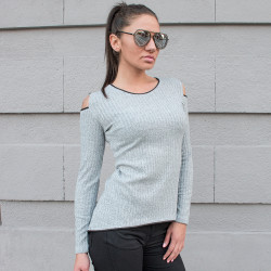 Дамска туника с дълъг ръкав в сив цвят
