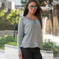 Дамска блуза в сив цвят / рипс /