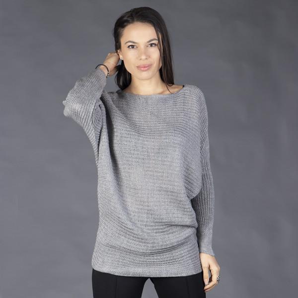 Сив дамски пуловер с кашмирена мекота
