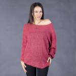 Мек и топъл  дамски пуловер с кашмирена мекота в цвят малина