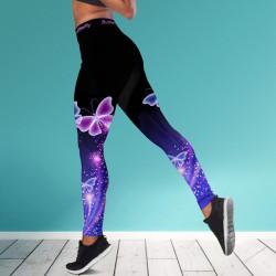 Дамски спортен клин - стягащ и повдигащ ефект ''PURPLE BUTTERFLY''