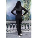 Черен дамски екип с искряща декоративна лента