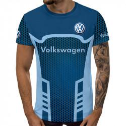 Мъжка спортна тениска 3D Volkswagen logo blue