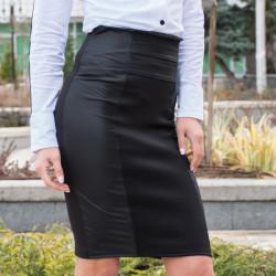 Стилна дамска пола с висока талия в черно и сиво