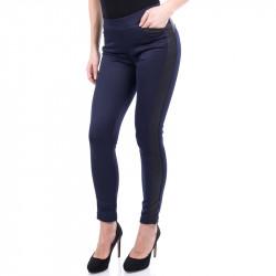 Спортно елегантен дамски панталон с кожа ''NAVY''