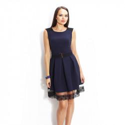 Разкроена рокля в тъмно синьо с дантела и коланче