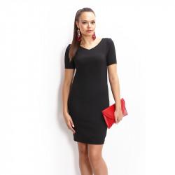 Черна рокля с къс ръкав