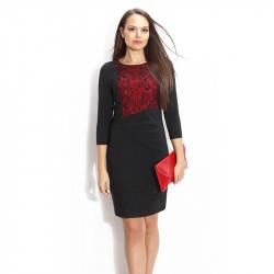 Черна рокля с червена дантела