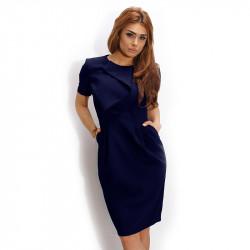 Ефектна тъмно синя рокля с акцент на деколтето