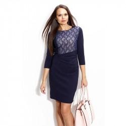 Тъмно синя рокля покрита с дантела