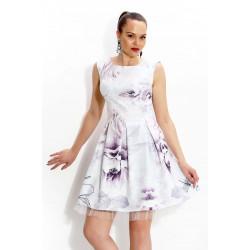 Кокетна дамска рокля с дизайнерски принт и тюл