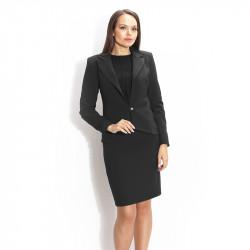 Костюм в класическо черно от пола с висока талия и сако