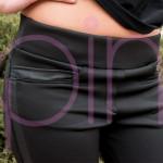 Дамски спортен панталон в черно с кожа