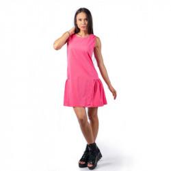 Удобна и практична дамска рокля с харбале в цвят диня