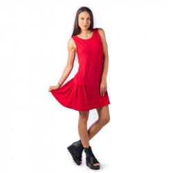 Удобна и практична дамска рокля с харбале в цвят червен