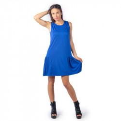 Удобна и практична дамска рокля с харбале в синьо