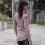 Дамска туника с дълъг ръкав в розов цвят