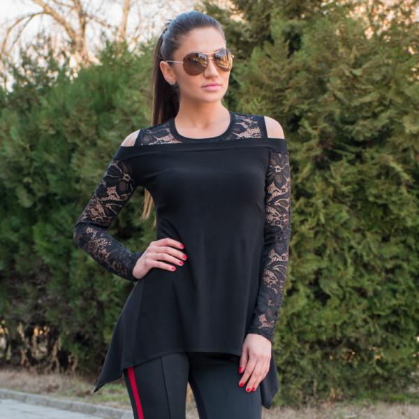 Елегантна дамска туника с дантела и голо рамо в черно