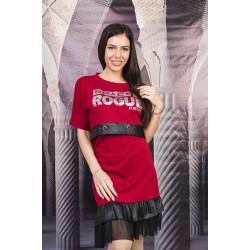 Стилна дамска рокля с кожени елементи и щампа в цвят бордо