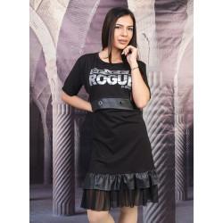 Стилна дамска рокля с кожени елементи и щампа