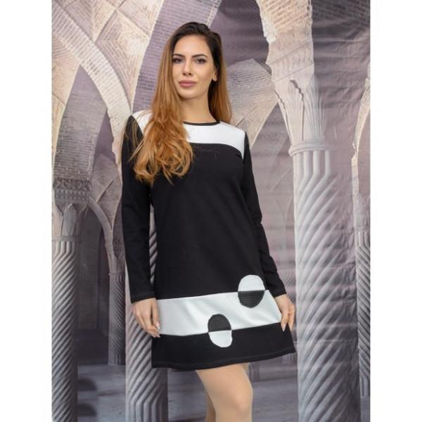 Стилна дамска рокля с дълъг ръкав и кожа Алена
