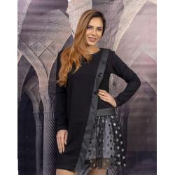 Екстравагантна асиметрична дамска рокля в черно