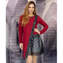 Екстравагантна асиметрична дамска рокля в бордо