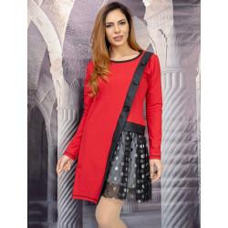 Екстравагантна асиметрична дамска рокля в червено