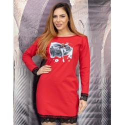 Елегантна дамска рокля с дантелен бордюр в червено с щампа