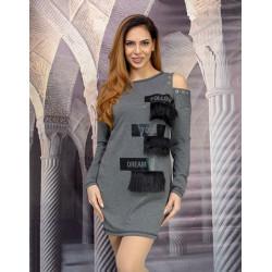 Стилна дамска рокля с ресни и капси в цвят графит