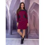 Вталяваща стилна дамска рокля в цвят бордо