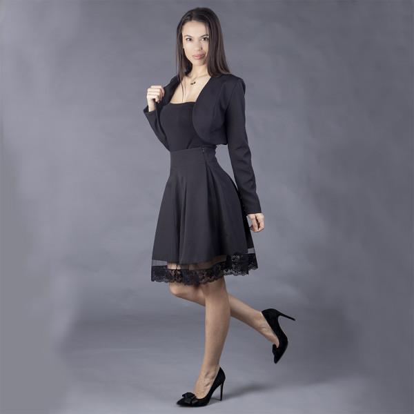Стилен комплект болеро и пола с висока талия и дантелен бордюр