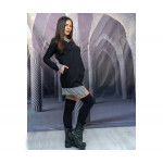 Модерна дамска рокля тип риза с дълъг ръкав в черно