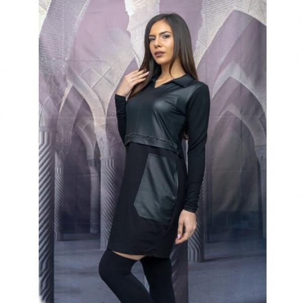 Ежедневна дамска рокля с кожа и дълъг ръкав в черно
