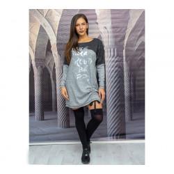 Ежедневна макси  дамска рокля с  подвижен набор и дълъг ръкав в светло сиво