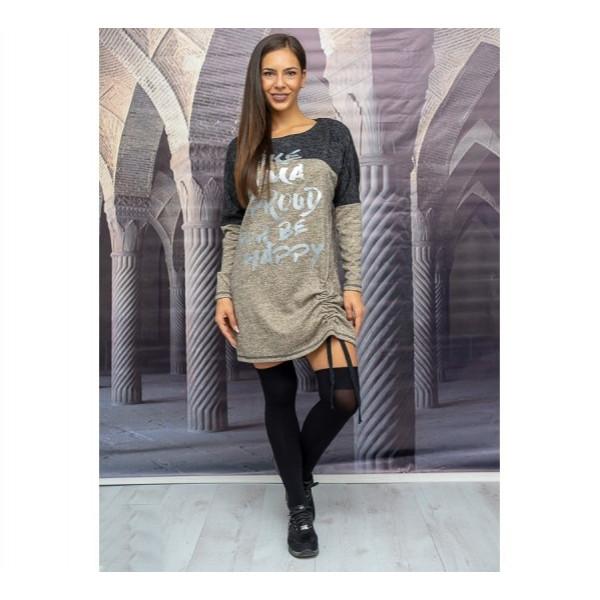 Ежедневна макси  дамска рокля с  подвижен набор и дълъг ръкав цвят маслина