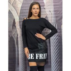 Стилна дамска туника с голо рамо Be Free в черен цвят