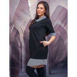 Модерна дамска рокля тип риза в черно