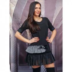 Къса разкроена рокля с декоративни къдрици в черно