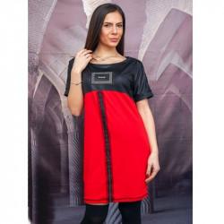 Ежедневна дамска рокля с кожа в червено
