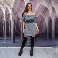 Ежедневна дамска рокля Каре с подарък кожен колан