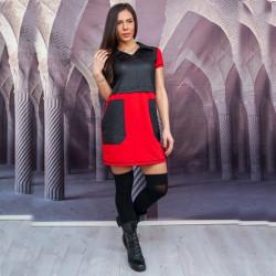 Макси дамска рокля с големи джобове в червено